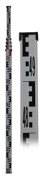 GSLS55 Teleszkópos alumínium szintezőléc, 5 m, 5 rész, tokkal, libellával